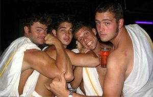 Helpful hunks toga themed party
