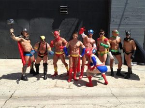 male stripper costume superhero helpful hunks